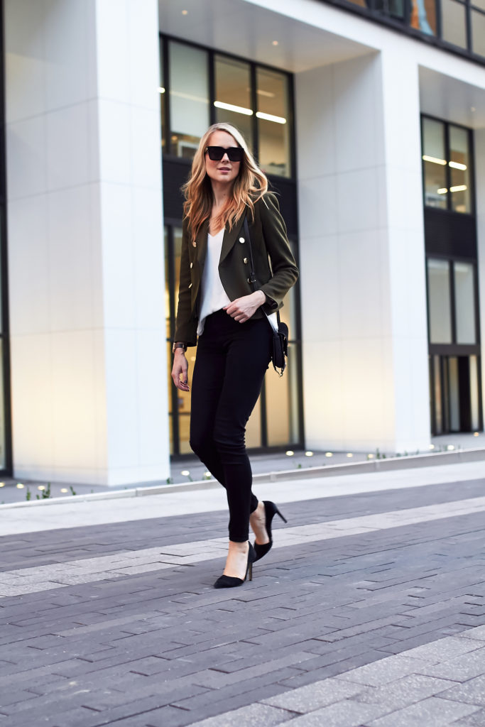 Blazers are making a comeback this season, and we adore Amy Jackson's khaki number paired with black jeans and stilettos. This smart casual style is one not to miss! Jacket: Topshop, Jeans: James Jeans, Bag: Chloe.