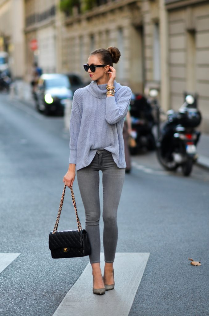 Knitwear is always a winning style, and is perfect for when the days get cooler. Barbora Ondrackova is wearing a super cute knitted turtle neck sweater with grey jeans and a pair of matching heels. Sweater: American Apparel, Jeans: Topshop, Heels: Buffalo, Bag; Chanel.