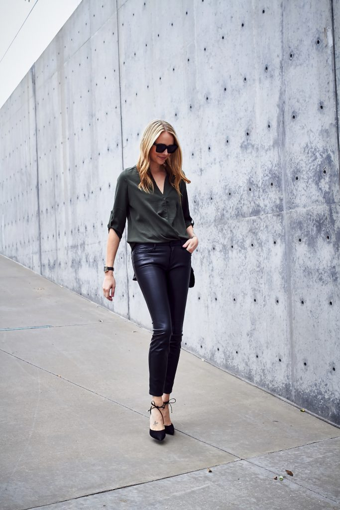Keep it chic and sophisticated in a pair of leather leggings and a blouse, like Amy Jackson has here. We love the simplicity of this style, and worn with heels it is an ideal blend of smart and sexy! Top/Heels: Nordstrom, Bag: Gucci.
