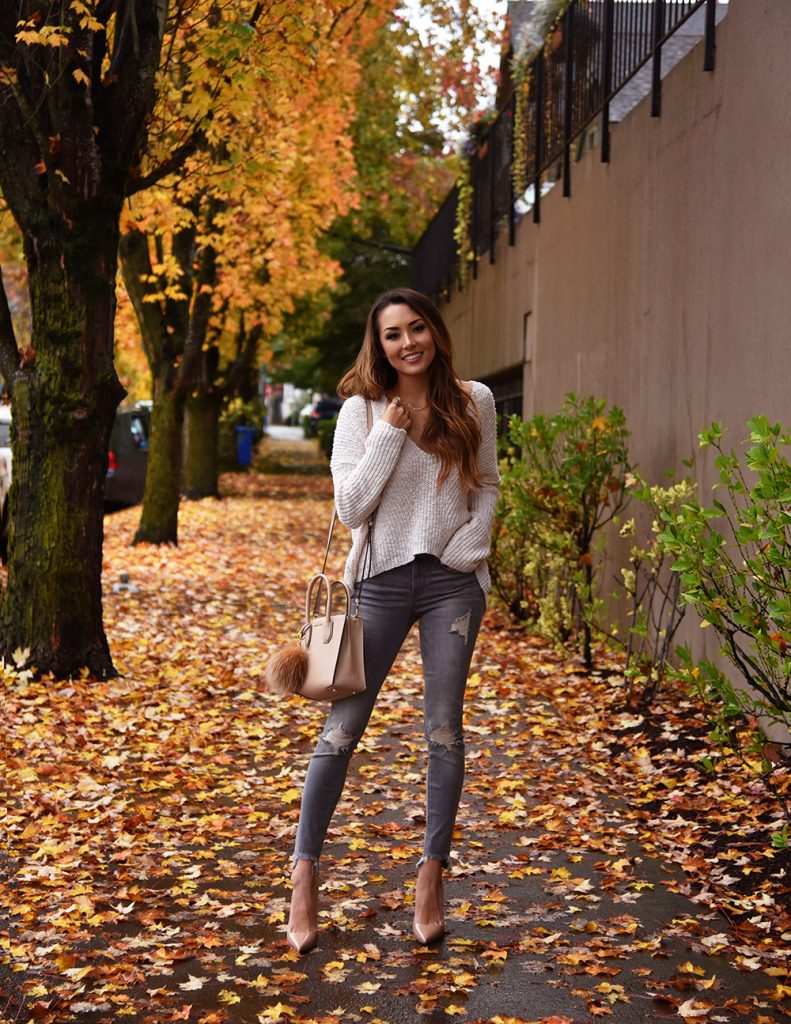 Jessica R. looks cute and cosy in this gorgeous cream knit sweater. worn with distressed jeans and heels for the ideal fall look. Try this look with minimal accessories to steal Jessica's stripped back style. Sweater/Jeans: Express.