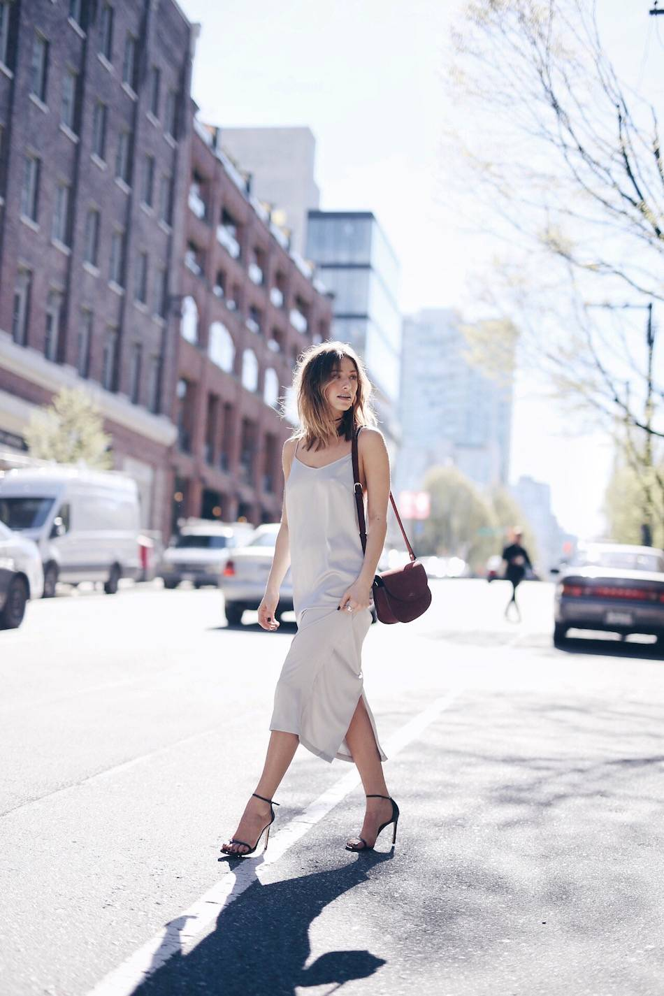 Something for the office: Jill Lansky keeps it simple with this midi length slip dress. Slip Dress/Choker: Express, Heels: Stuart Weitzman, Bag: A.P.C