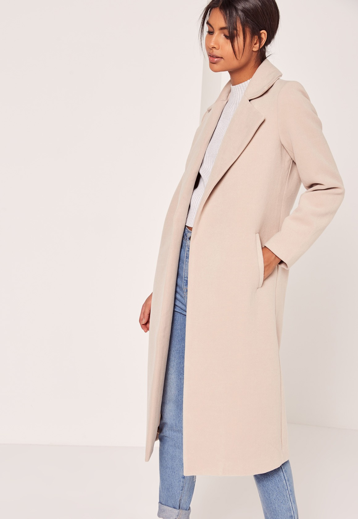 Longline Faux Wool Duster Coat Nude From Missguided