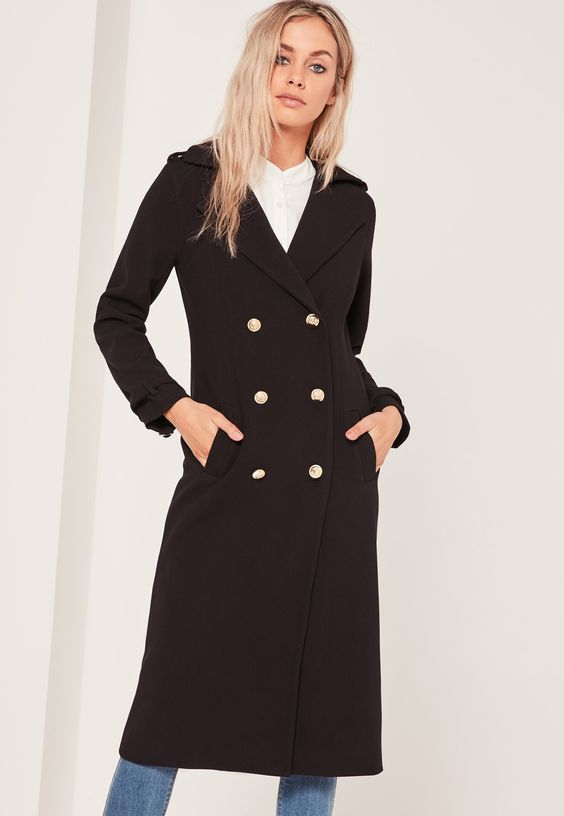 Lightweight Military Trench Coat Black From Missguided