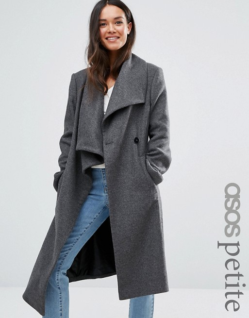 Waterfall Trapeze Coat in Wool Blend from ASOS Petite