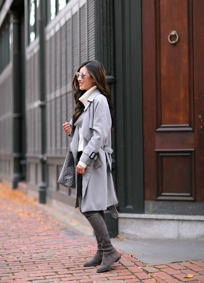 Jean Wang chooses slate grey for her winter fashion. The cream of her turtleneck plus black denim gives the right amount of depth and dimension to this generally monochromatic, versatile style. Coat: Chicwish, Boots: Stuart Weitzman, Jeans: J.Brand, Sweater: Banana Republic, Bag: Goyard