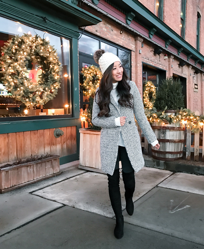 You cannot go wrong with a beanie! A fact proven by Jean Wang in this adorable winter style, consisting of a tweed overcoat, worn with over the knee boots and tights for a cute seasonal look. Coat: Chicwish, Hat: J Crew, Boots: Charles David.