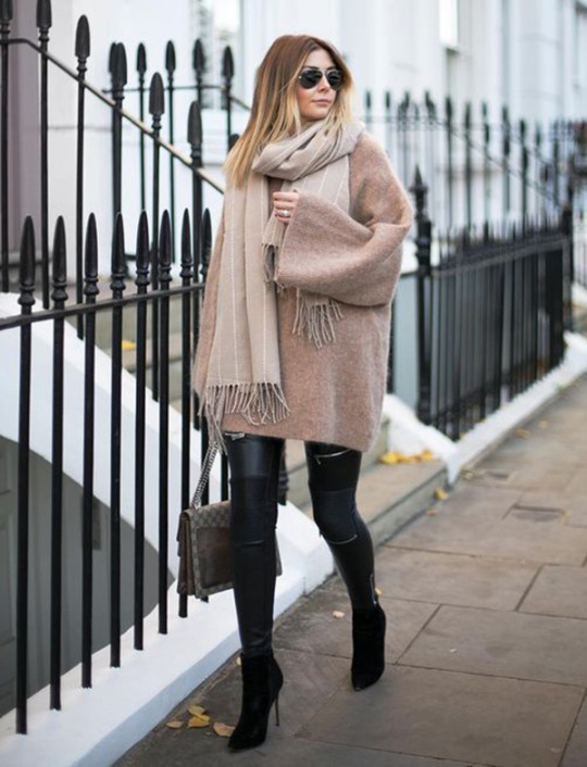 We are loving Emma Hill's winter aesthetic, which simply screams 'classic elegance'! Pair a sweater dress with leather leggings, boots, and an oversized scarf to give this look a go!   Dress: Like To Know It.