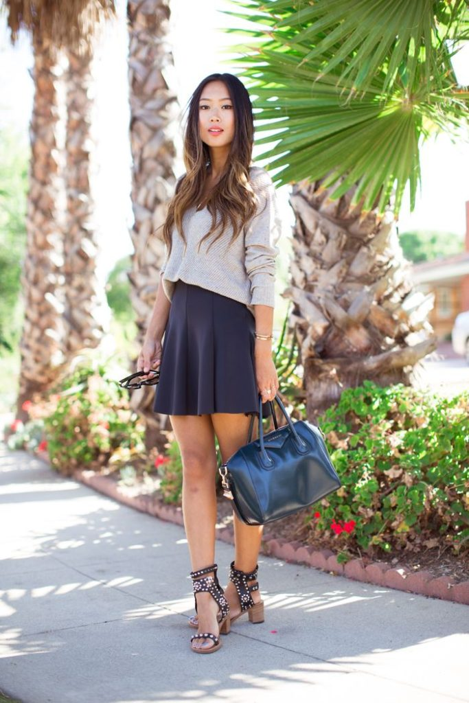 V-Neck Sweater By Theonne And Reformation Neoprene Skirt