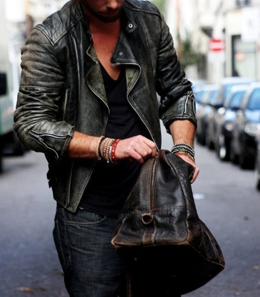 Men's Leather Jacket Via Photos De Mode