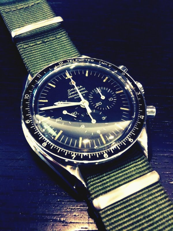 The Omega Speedmaster 861/Olive green canvas strap