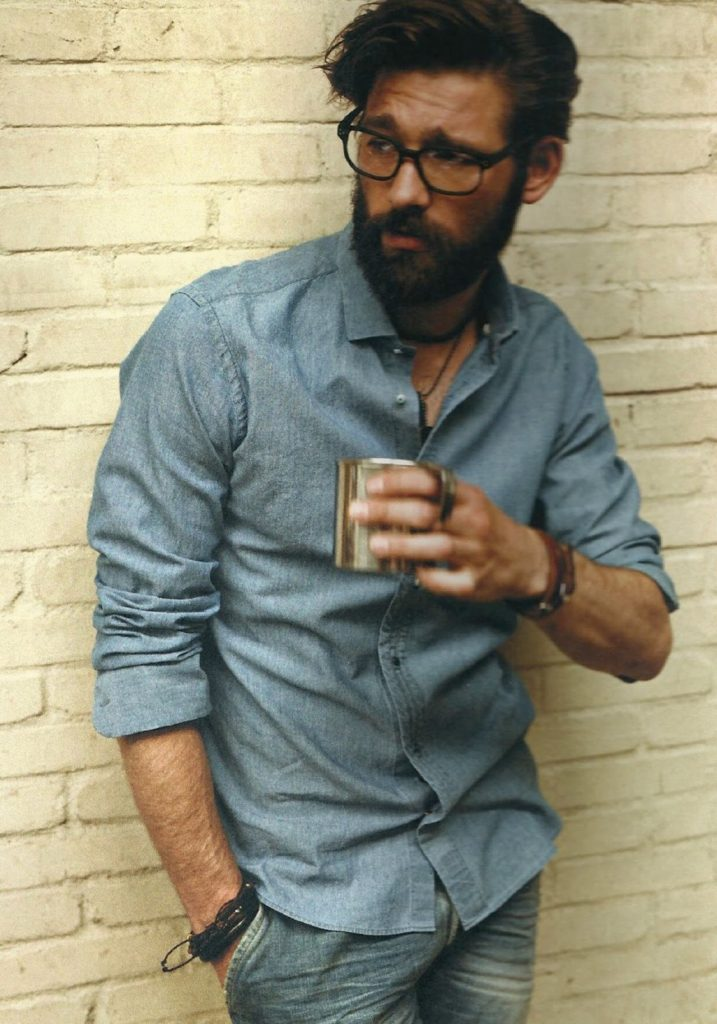 Shirt, Jeans, Beard And Glasses