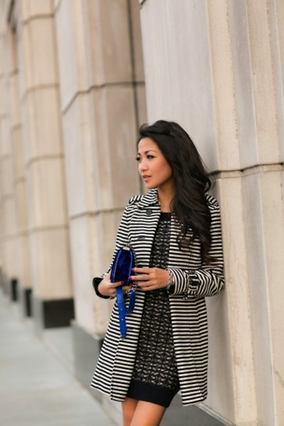 Zebra Striped Coat And Patterned Dress