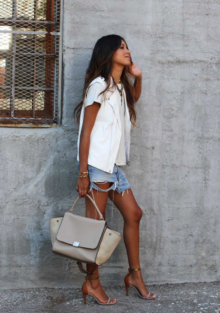 White T-Shirt, Vest & Ripped Denim Shorts