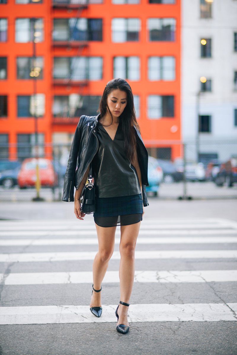 Jenny From NeonBlush In Zara Leather Jacket And Skirt, Alexander Wang Shoes