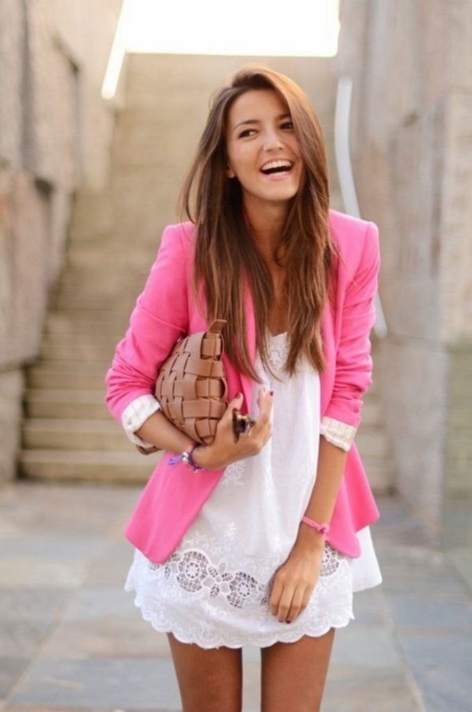 Pink Blazer White Dress