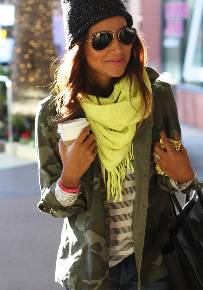 Zara Camo Jacket And Nine West Beanie