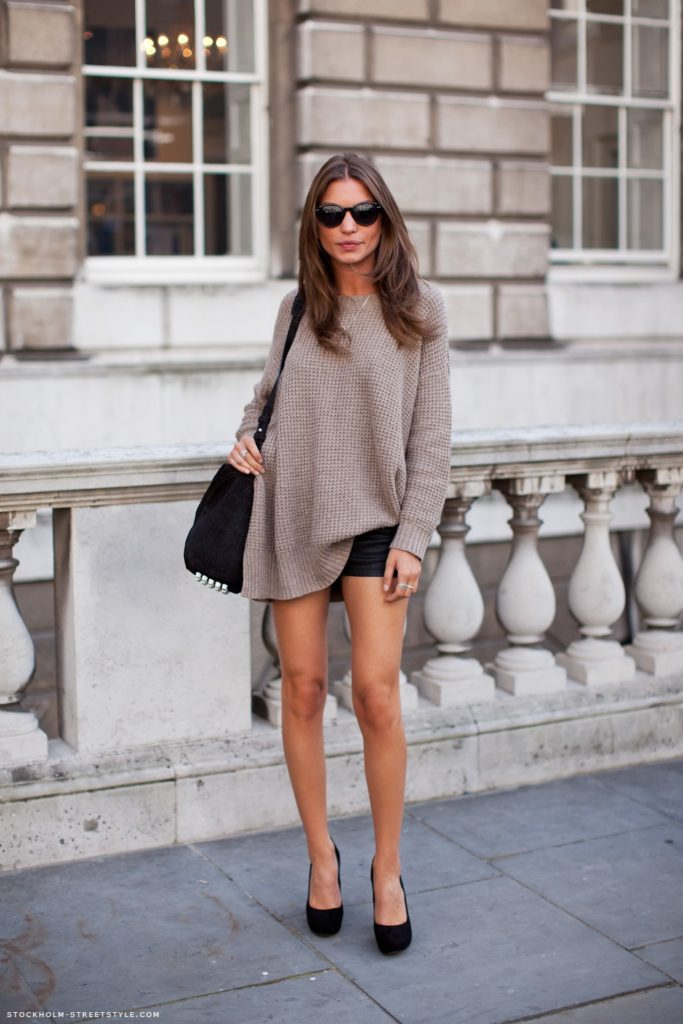 Elena In Loose Fitting Top And In Black Mini Shorts Via Stockholm Street Style