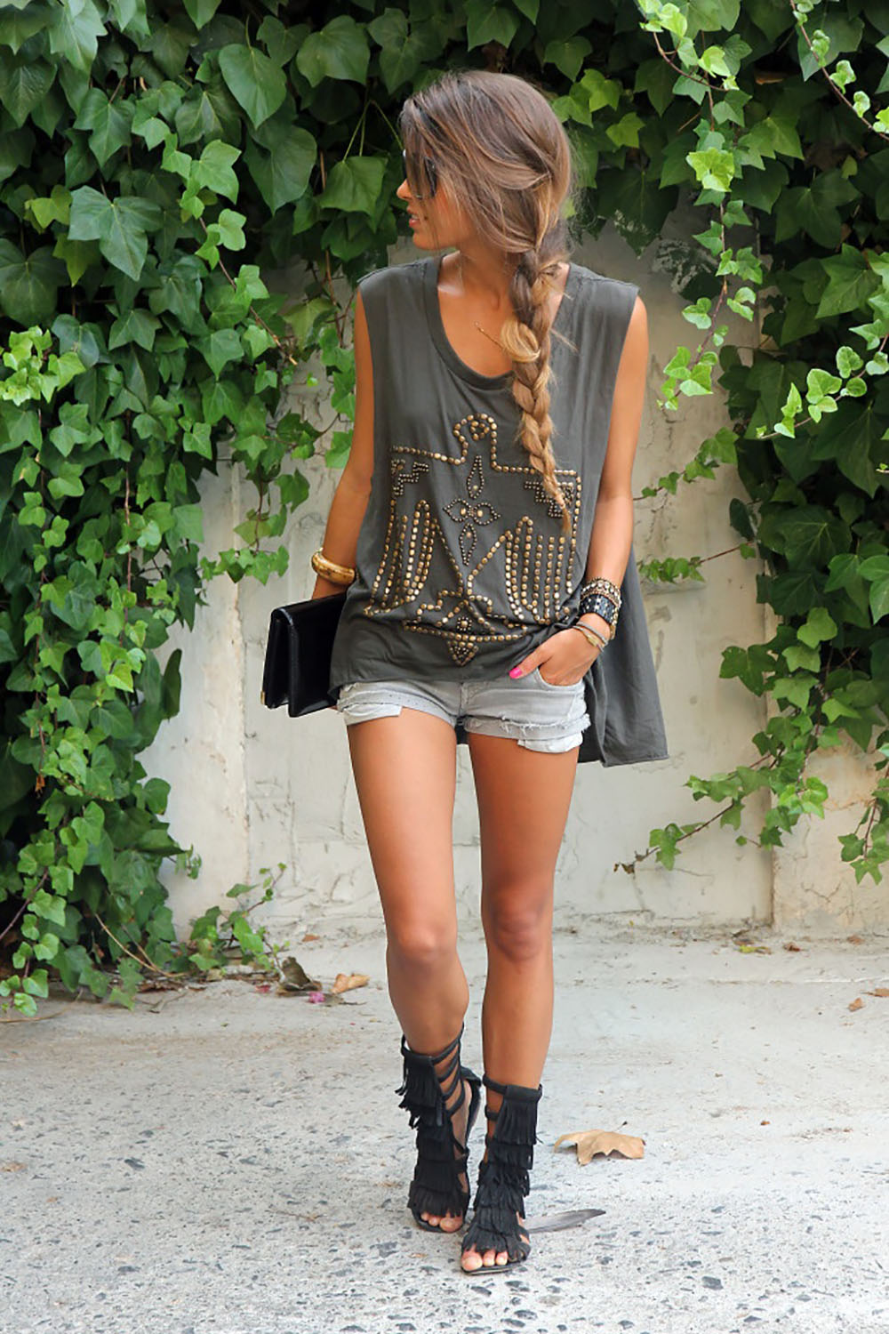 Street Style Fashion Inspiration Gladiator Fringe Sandals