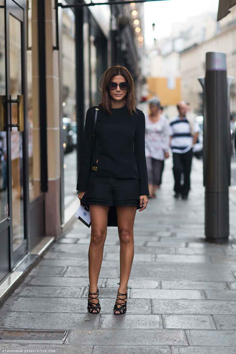 Fashion Editor Christine Centenera Full On Black Top And Black Shorts