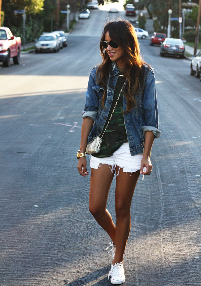 Jules In Vintage Levi's Denim Jacket And Shorts From Brandy Melville