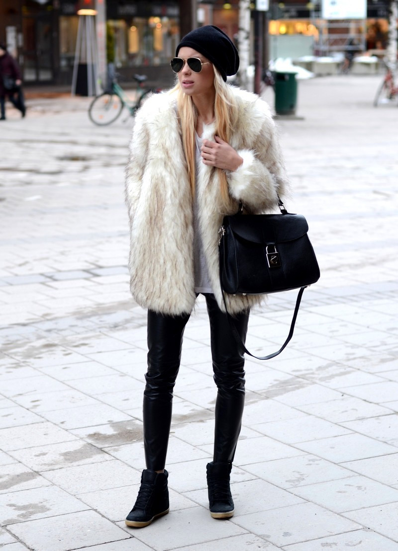 Fur Coat By Gina Tricot And Leather Pants By Romwe From Victoria Tornegren