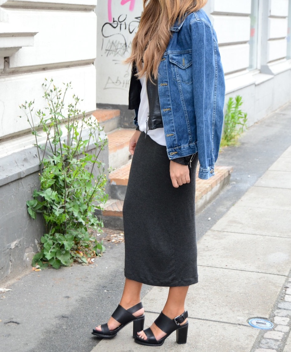 Michelle Nielsen Is Wearing A Second Hand Denim Jacket, Leather Jacket From TopShop, Skirt From H&M, And The Shoes Are From & Other Stories