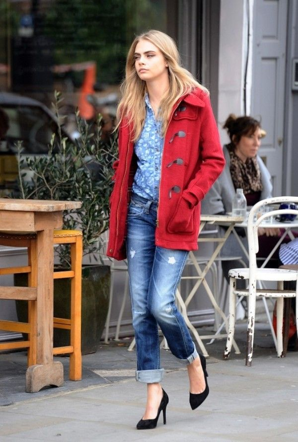 Cara Delevingne Faded Jeans Red Coat