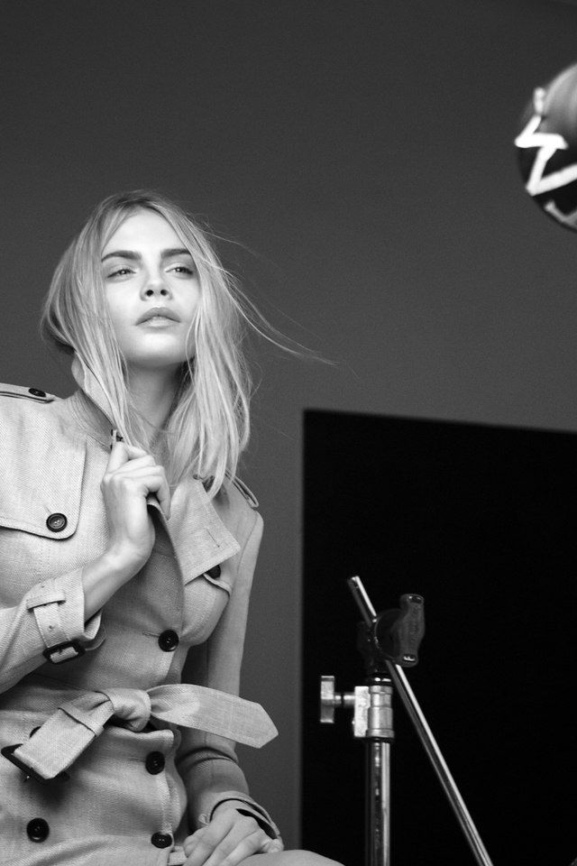 Cara Delvingne Backstage At Burberry