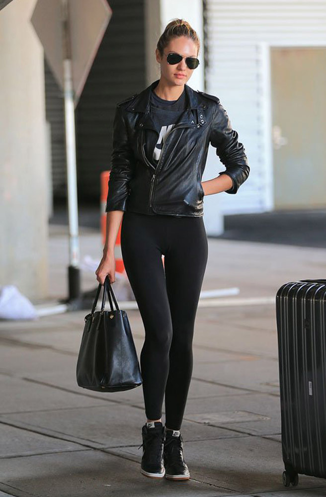 Candice Swanepoel All Black Street Style