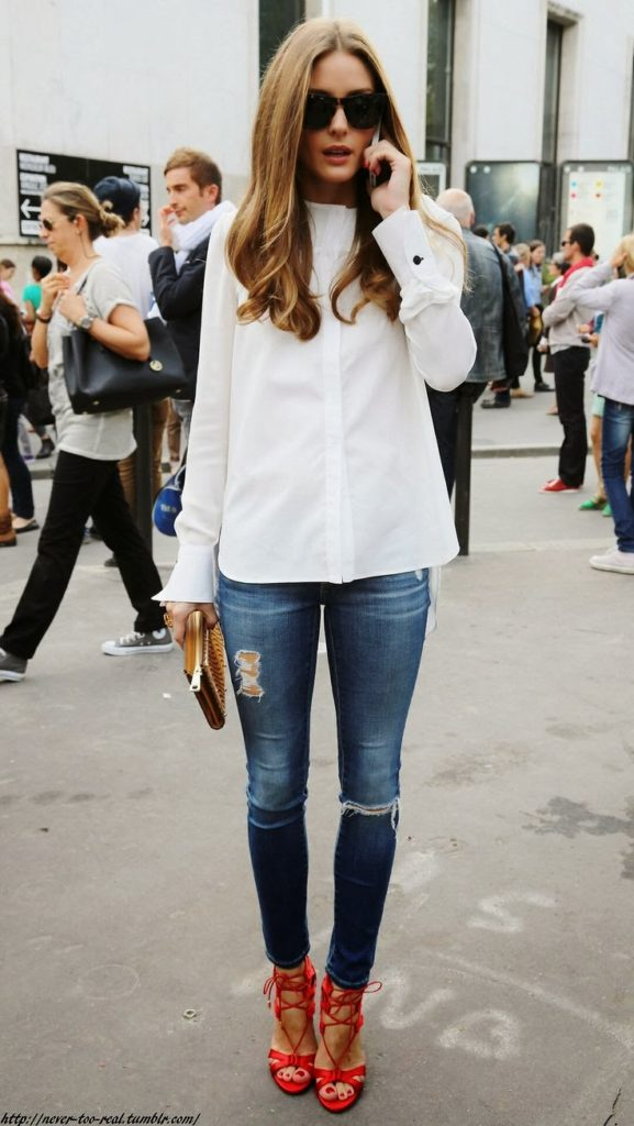 Olivia Palermo Street Style Skinny Jeans And White Top