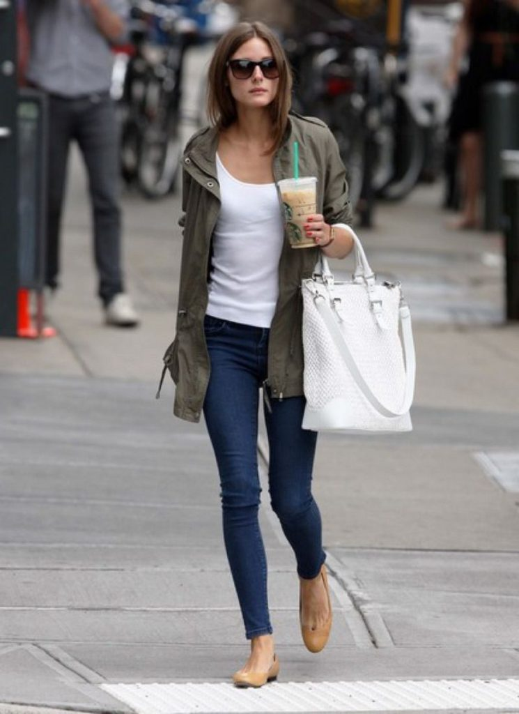 Olivia Palermo Street Styling Skinny Jeans And Army Jacket
