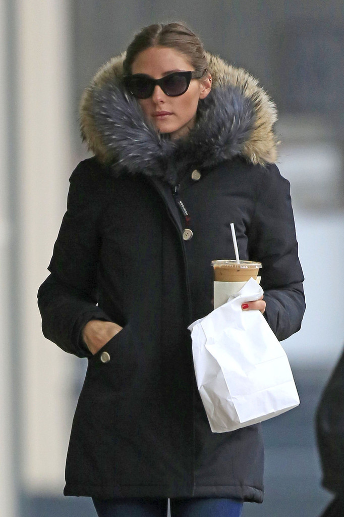 Socialite Olivia Palermo Caught In New York In park Faux Fur Coat