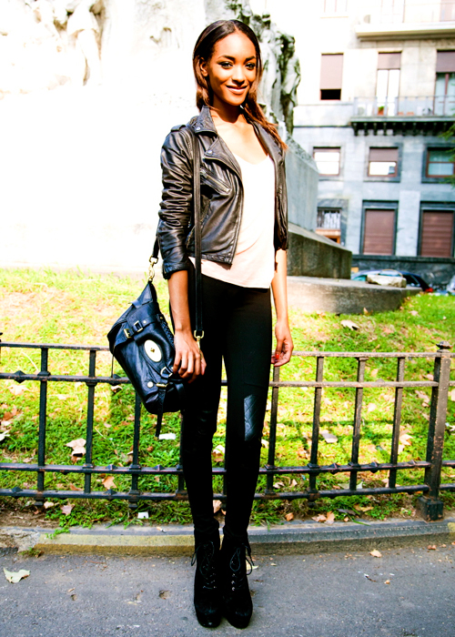 Jourdan Dunn Street Style Tiny Leather Jacket White tee