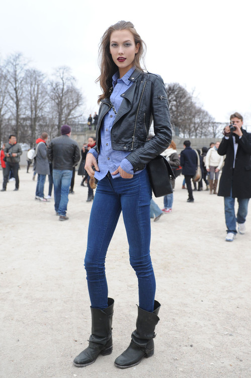 Karlie Kloss Street Style Skinny Jeans Leather Jacket And Boots