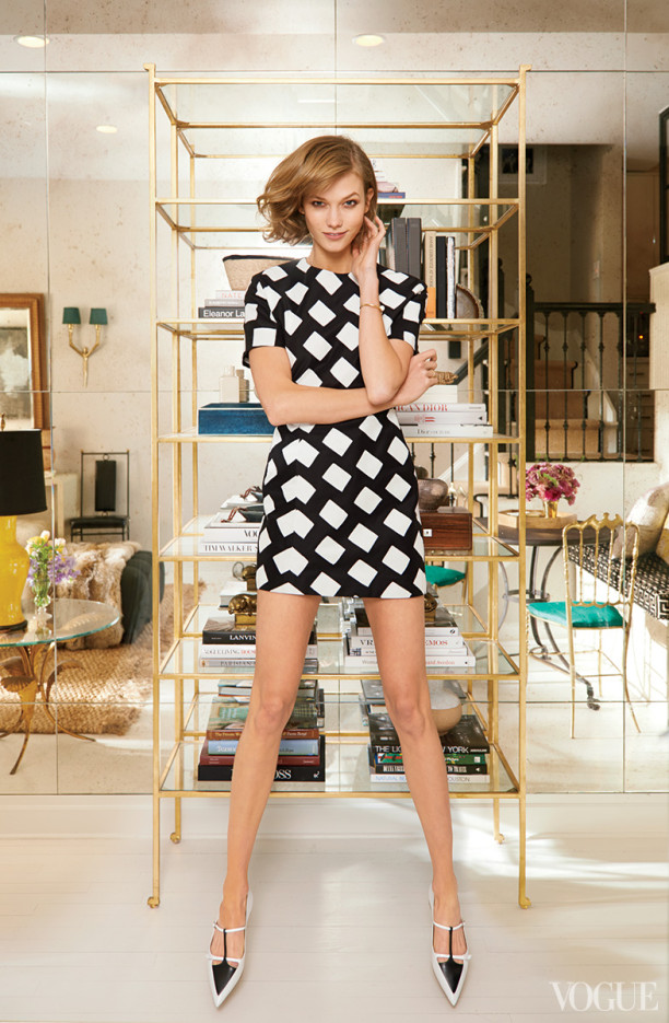 Karlie Kloss Love The Dress (At Her Home), Model Off Duty Via Vogue March 2014