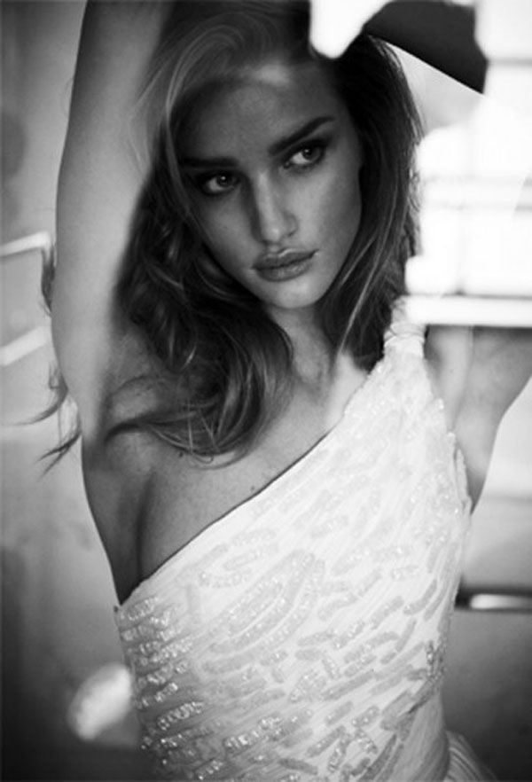 Black & White Rosie Huntington-Whiteley in Vogue Brazil April 2012