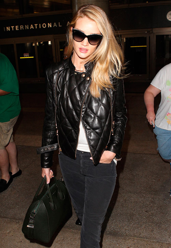 English Rosie Huntington-Whiteley Street Style Chanel 2.55 Bag Quilted Leather Jacket