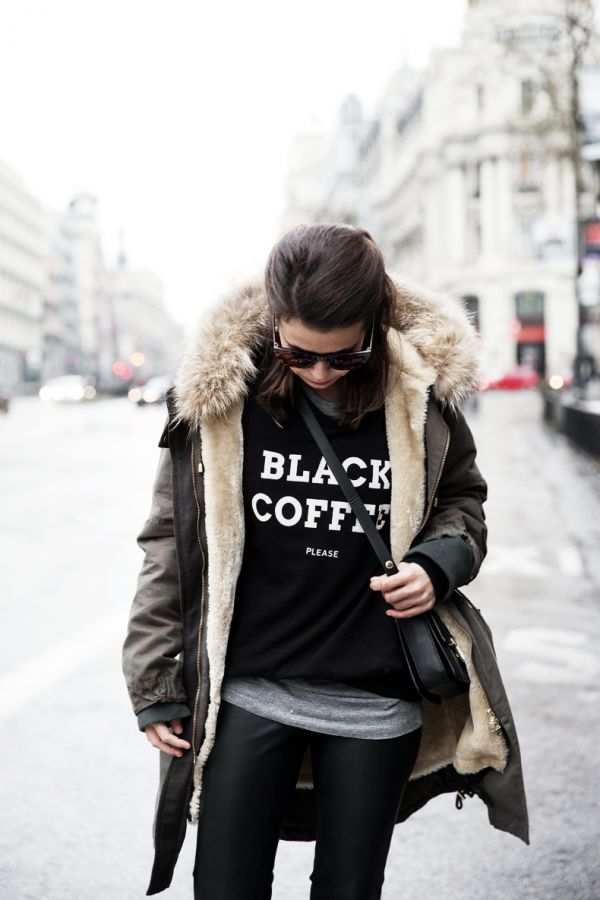 Fashion Street Style Kookai Parka And Pull And Bear Sweatshirt Via Fashion Indie