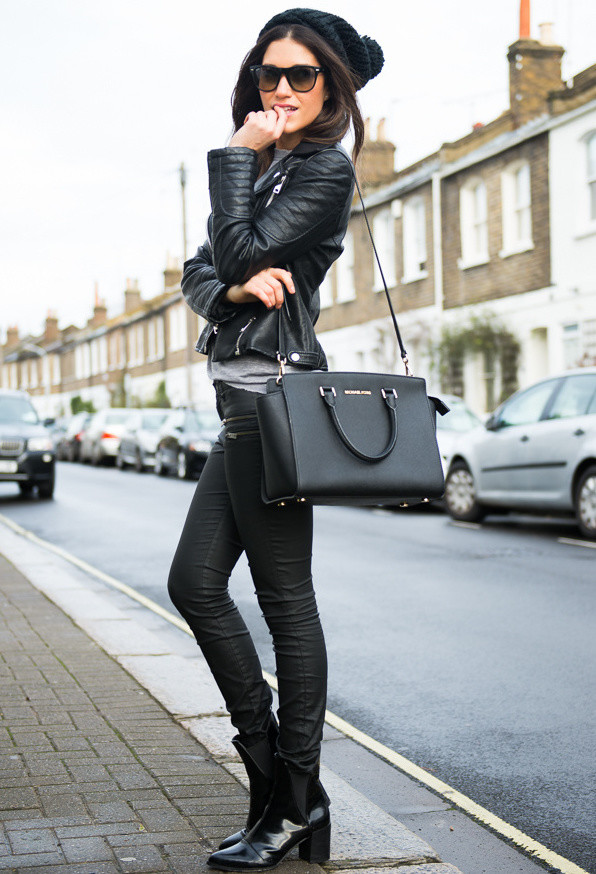 Fashion Blogger Ariana Chiche In Leather Jacket From Zara and Michael Kors Bag