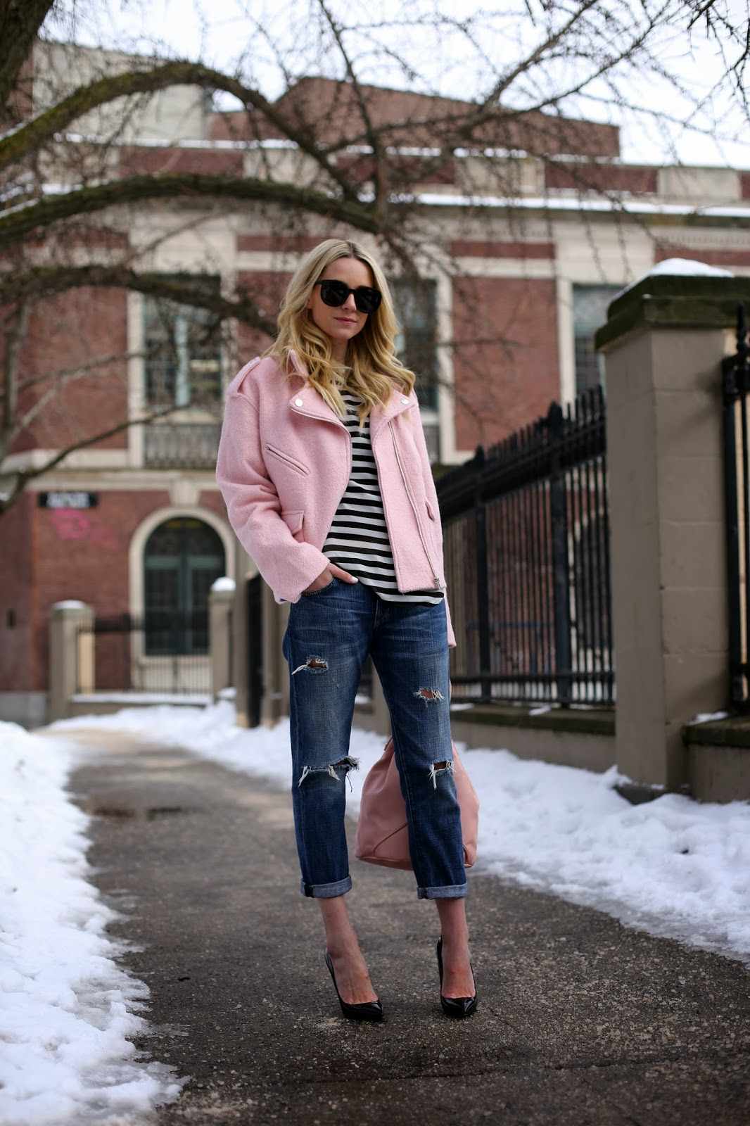 Fashion Blogger Atlantic Pacific In Pink Jacket from Sister Jane