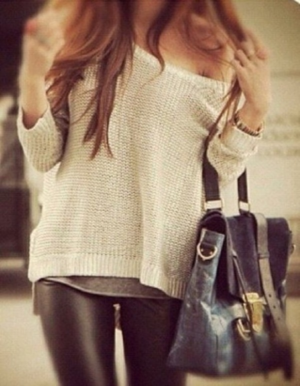 Leather Leggings And Sweater Unknown Photographer