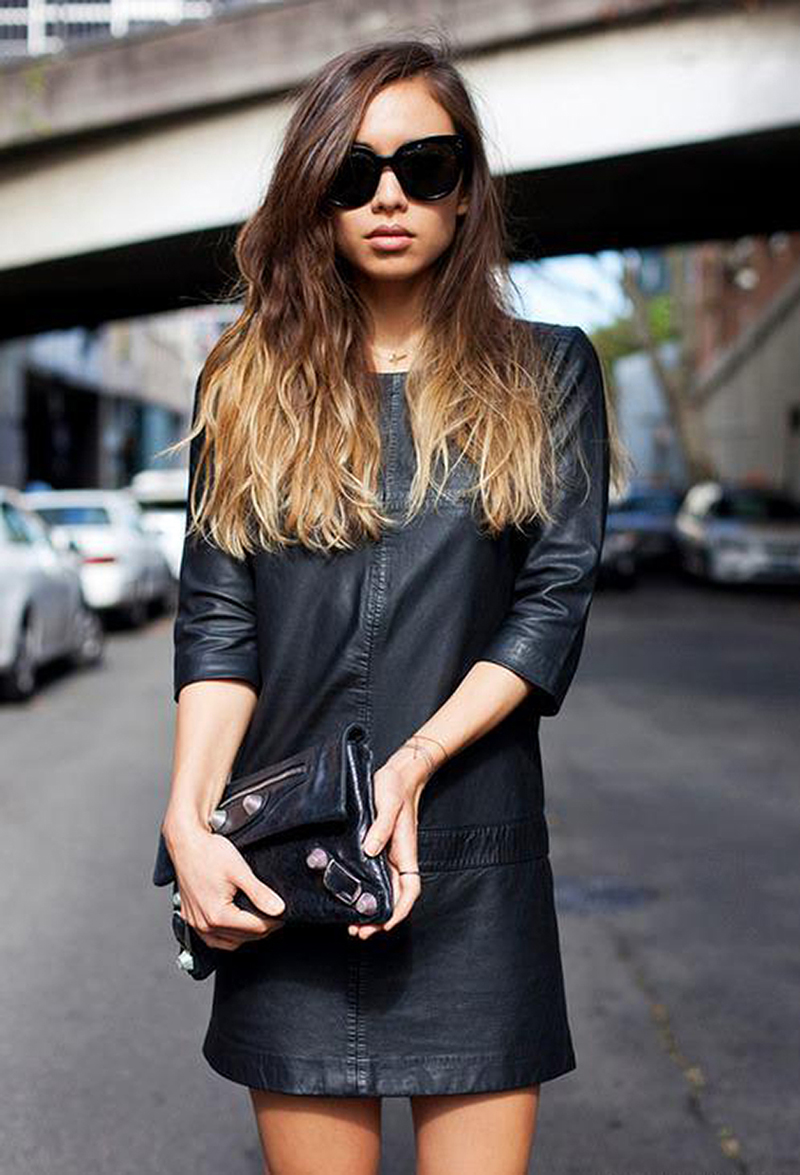 Leather Dress Street Style Unknown Photographer