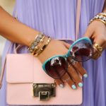 Viva Luxury In Jimmy Choo Rebel Grainy Calf Cross Handbag And The Sunglasses Are Daggerwing in Aqua Fade
