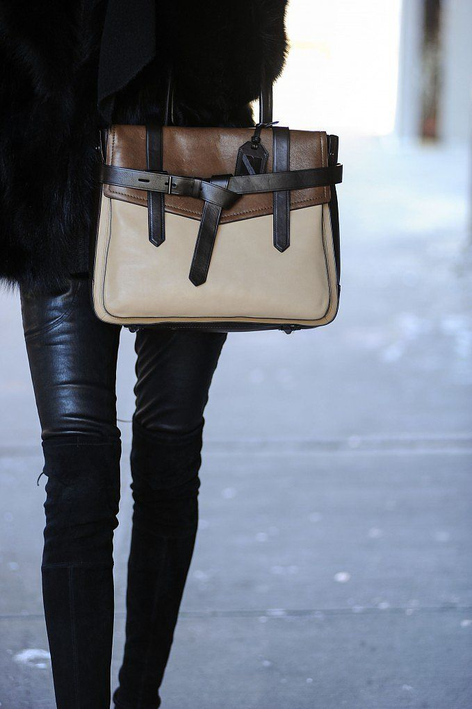 All Black Outfit Combined With A Reed Krakoff's Beige And Brown Bag March 2014