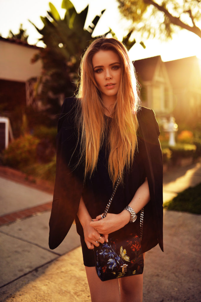 Floral Cross Over Hand Bag By Roberto Cavalli Worn By Fashion Blogger Kristina Bazan