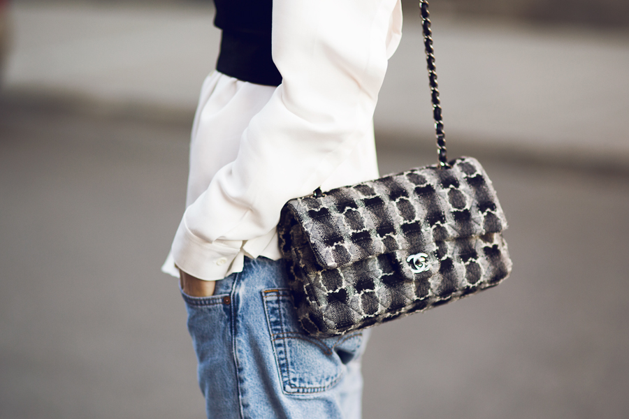 Fashion Guru Pernille Teisbaek With Her Monochrome Cross Over Hand Bag From Chanel Spring / Summer 2014