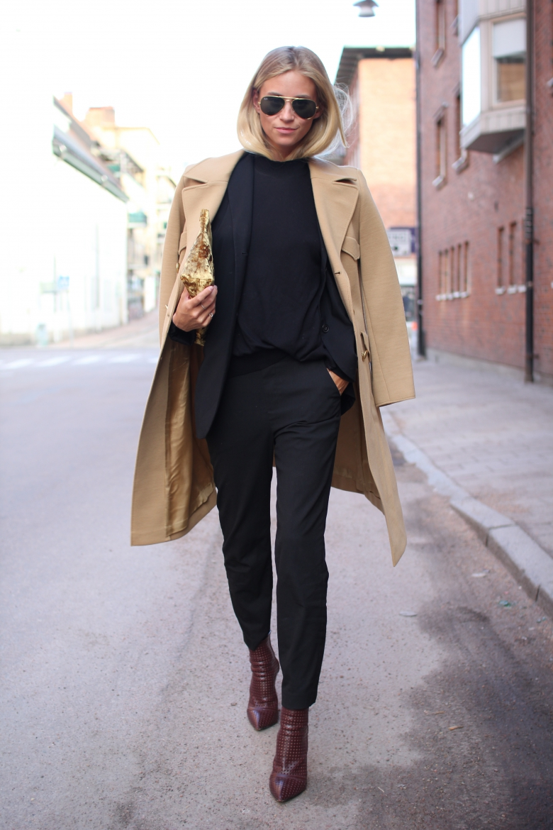 Tine Andrea is wearing shoes from Alexander Wang, blazer from Hugo Boss, top from Zara, Camel coat, sunglasses from RayBan and the clutch is from Acne