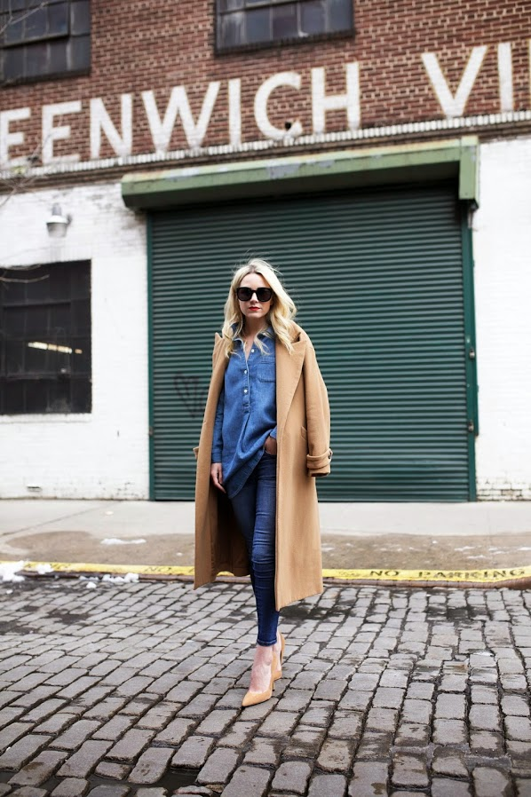 Blair Eadie is wearing a camel oversized maxi coat from Mason