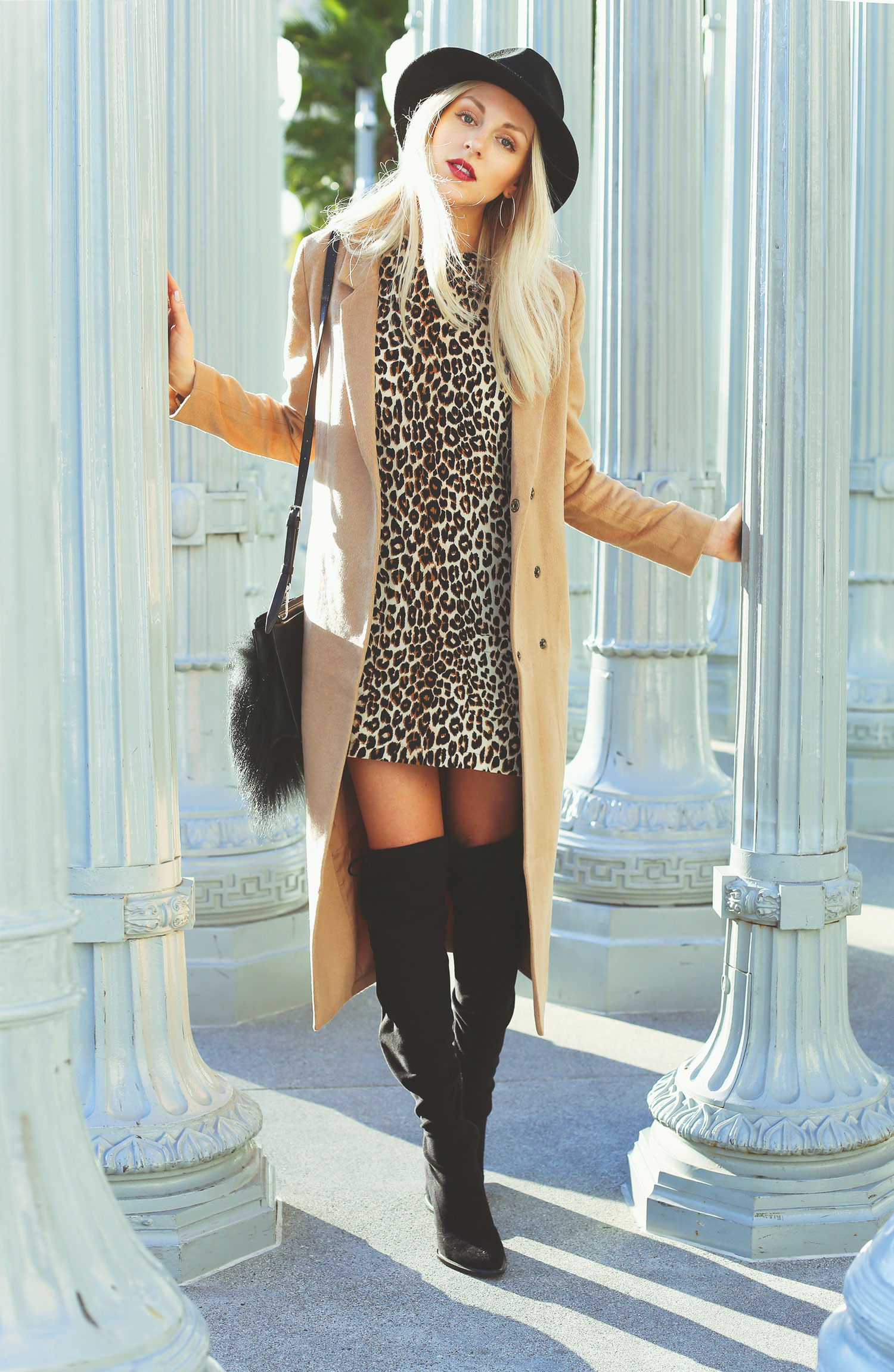 Shea Marie is wearing a long camel coat from Forever 21
