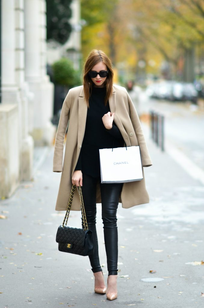 Barbora Ondrackova rocks a classic everyday look here in a pair of leather leggings and an oversized camel coat. This contrast of the tight fitting leather and the deliberately structured coat makes for a cool, androgynous style which we love!  Coat: Topshop, Top: Proenza Schouler, Leggings: Balenciaga.